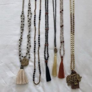 6 mala-like necklaces from Bali.